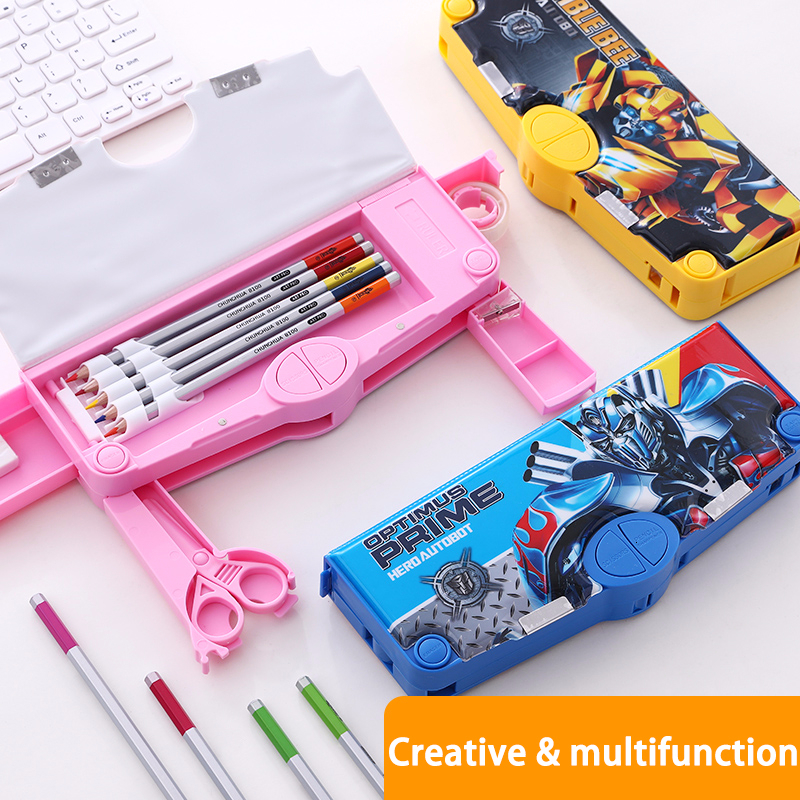 Creative Multi-function Transformers Pen Box Large Capacity School Pencil Case Kawaii Variable Type Pen Holder Gift For Kids