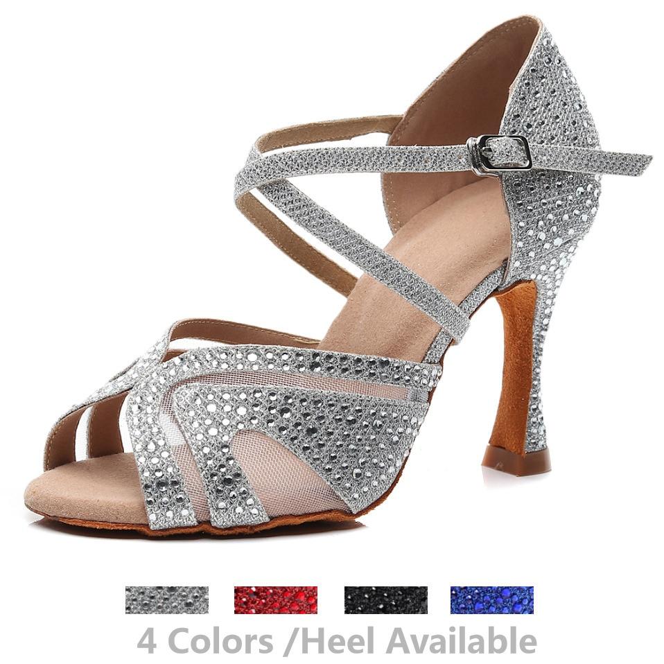 Fashion Jazz Salsa Ballroom Latin Dance Shoes For Dancing Women Chinese Dances High Heels Rhinestone Sequined Summer Sandals