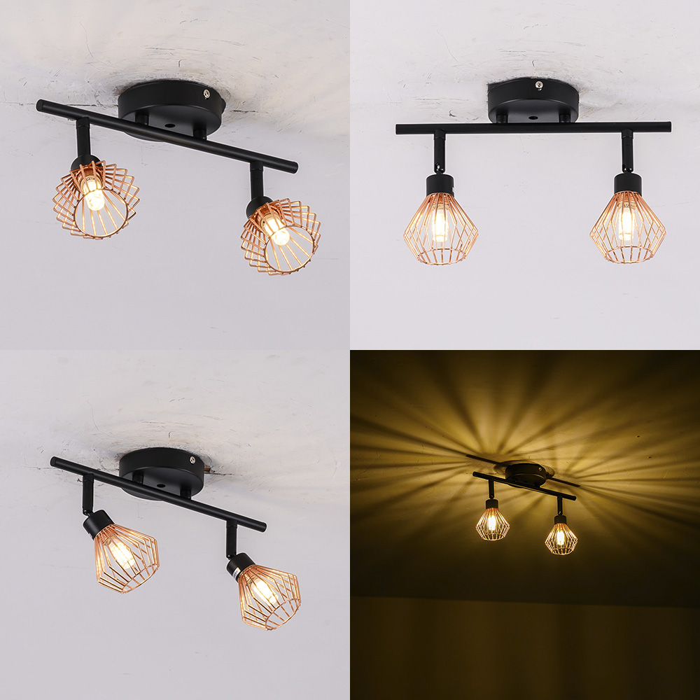 Rotation Loft Nordic Ceiling Lights Loft G9 Cage Room Lights Creative Ceiling Light 1/2/3 Heads Lamps For Home Decor Restaurant