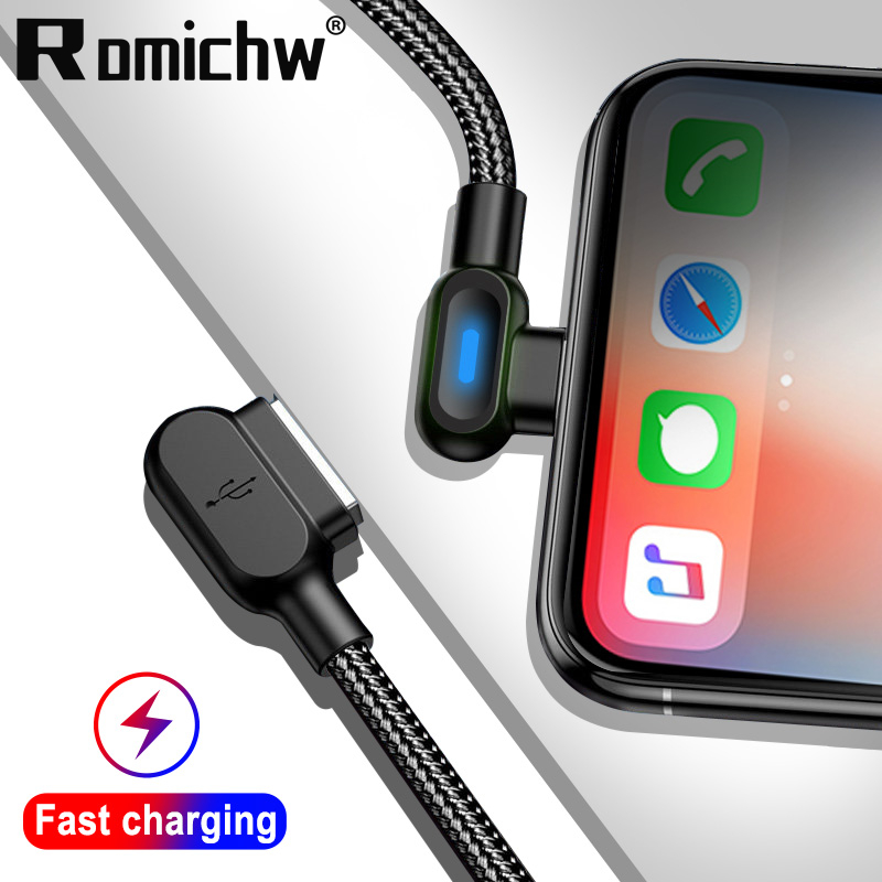 LED 90 Degree Double Elbow USB Type C Cable Oneplus 6T For Samsung S9 S10 For Xiaomi Redmi Note 7 Mi A2 Fast Charging Data Cable