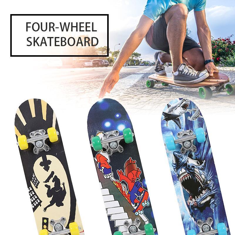 Teenagers Single Warping Slide Deck Skateboard Complete Skateboard Longboard 3 Style Maple Wood High Speed Four Wheel Scooter