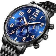 Montre Homme Watch Men Luxury Brand LIGE Chronograph Sport Waterproof Full Steel Quartz Watches Relogio Masculino