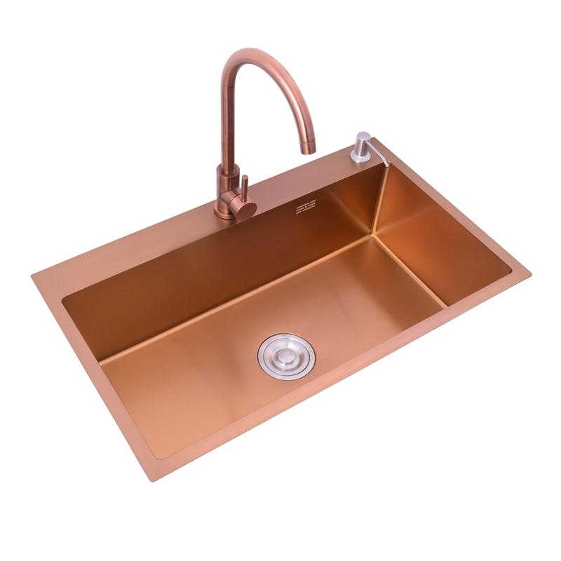 Rose Gold Kitchen Sinks Under Counter SUS 304 Stainless Steel Flushmount Handmade Single Bowl