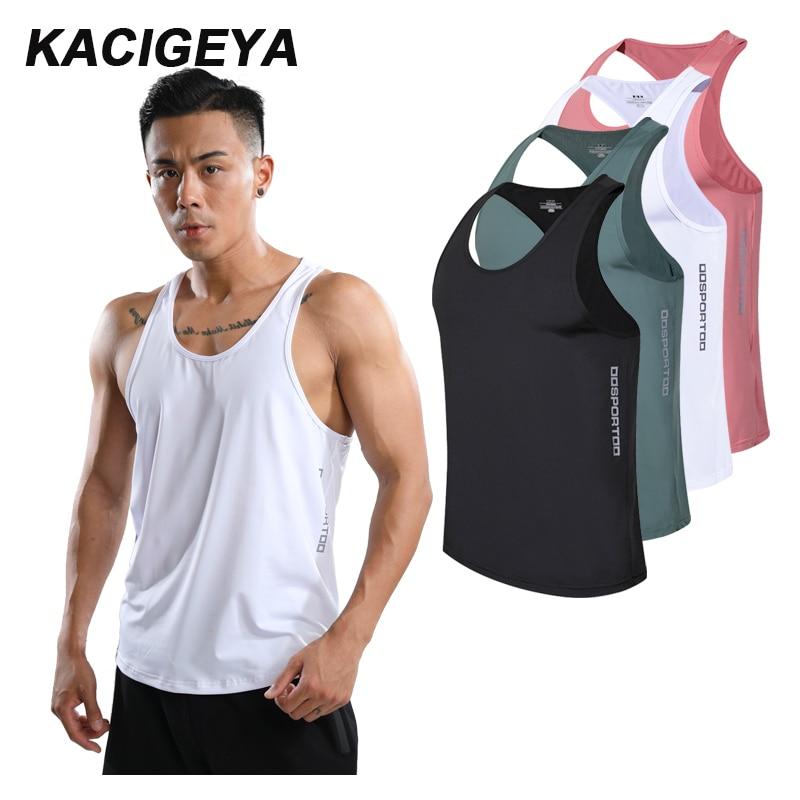 Camiseta deportiva de verano para hombre, ropa para gimnasio, ropa interior para culturismo, camisetas de entrenamiento de trabajo, chaleco para correr para hombre de secado rápido