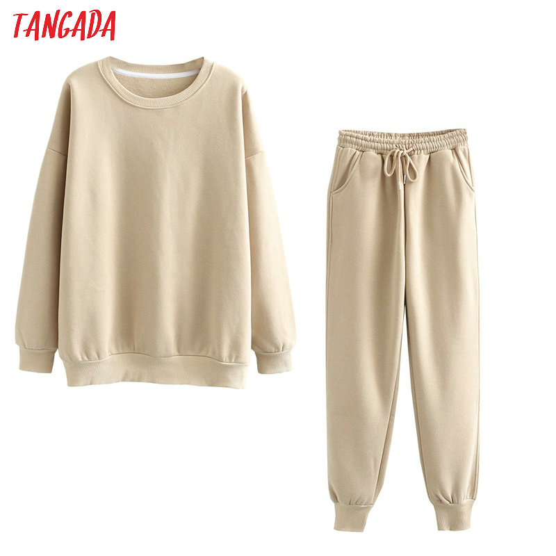 Tangada 2020 Autumn Winter Women warm yellow fleece 100% cotton suit 2 pieces sets o neck hoodies sweatshirt pants suits 6L24 5