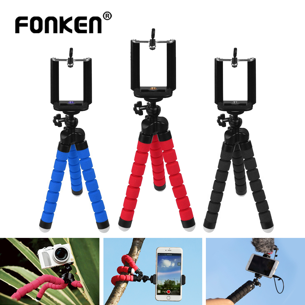 Octopus Mini Tripod For GoPro Smartphone Camera Phone Holder Outdoor Flexible Sponge Clip Stand With Bluetooth Selfie Remote