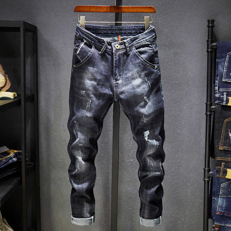 Kstun Ripped Jeans Mannen Donkerblauw Stretch Slim Fit Verontruste Streetwear Denim Broek Casual Retro Biker Jeans Man Broek Hiphop