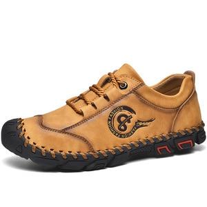 Image 3 - أحذية من الجلد حذاء رجالي جودة انقسام الجلود حذاء كاجوال الأخفاف حذاء رجالي جلد حجم 36 48
