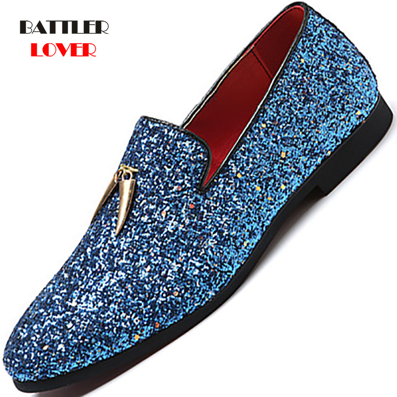 Plus Size 37-48 Luxury Men Casual Loafers Silver Diamond Rhinestones Loafers Metal Tassels Driving Shoes Men Wedding Party Shoes