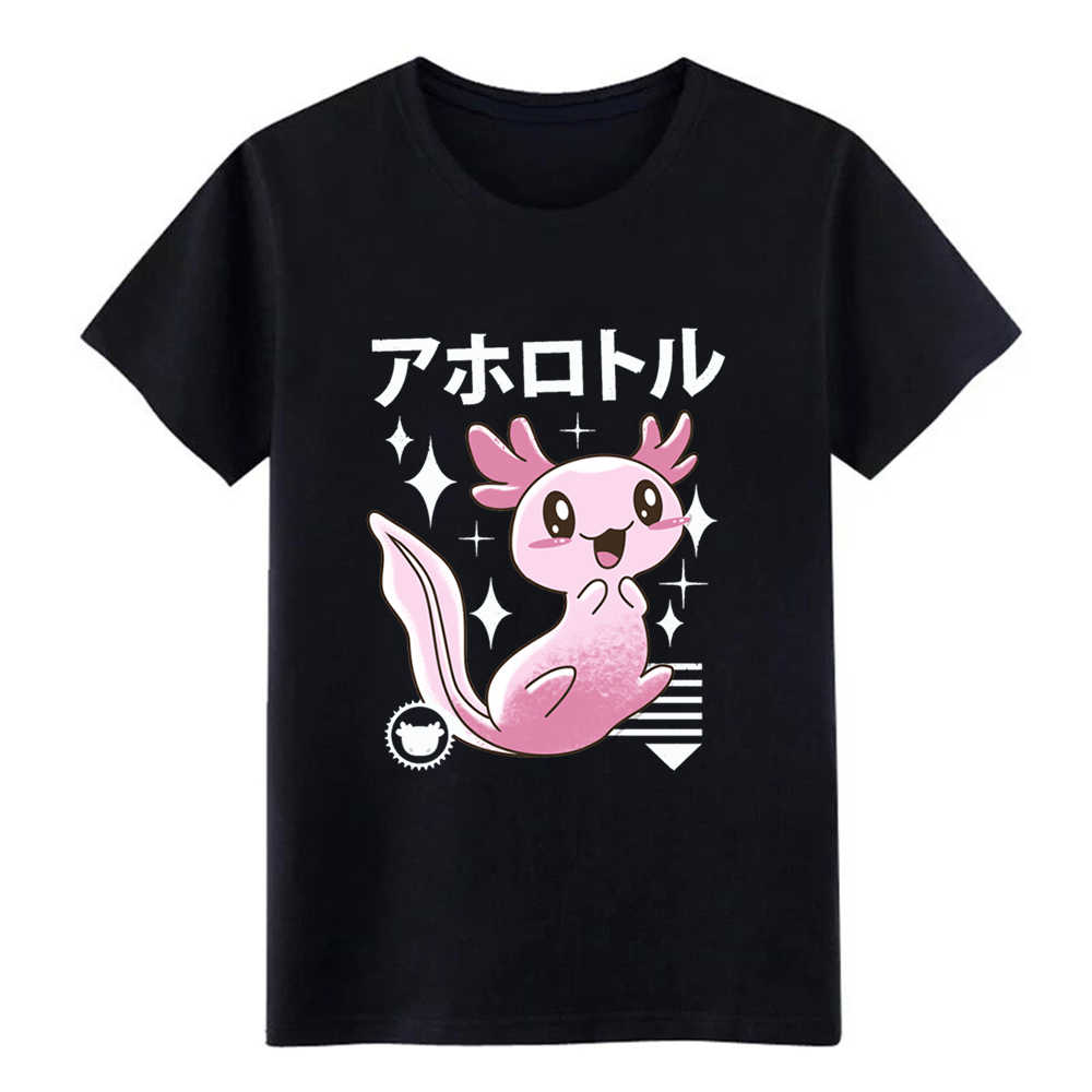 Men's Kawaii Axolotl t shirt Customize cotton Crew Neck Pattern Interesting Humor Spring Autumn Natural shirt
