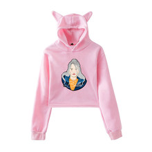 Cute Cat Ear Billie Eilish Hoodie Sweatshirt Women Oversized Crop Harajuku Long Sleeve Hooded Streetwear Tunic Hat(China)