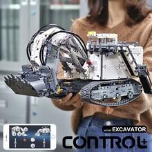 تكنيك سلسلة liebherrs حفارة R 9800 نموذج اللبنات الطوب المحرك MOC 1874 الطاقة متوافق lepining 42100 الاطفال اللعب