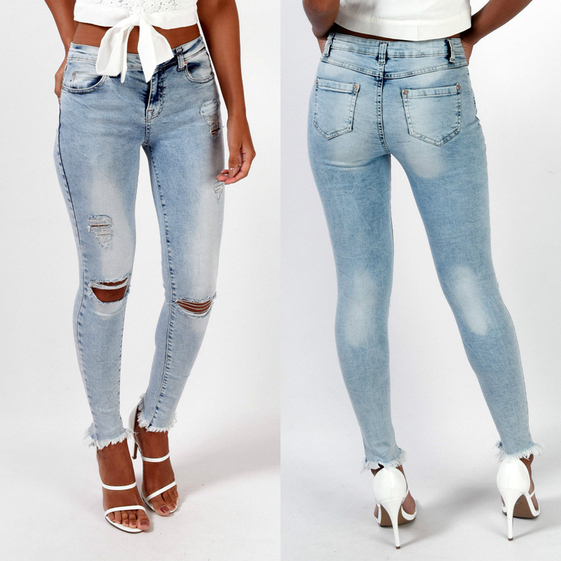 Ripped Knee Hole Slim Pencil Jeans Stretch Women Pencil Jeans Combinaison Pantalon Burr Denim Pants Woman Calsas Jeans Feminina