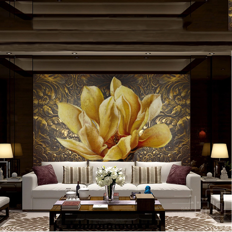 Customiz Mural Golden Relief Flowers Oil Painting 3DClassic Bedroom Living Room Sofa TV Background Wall Decor Painting Wallpaper