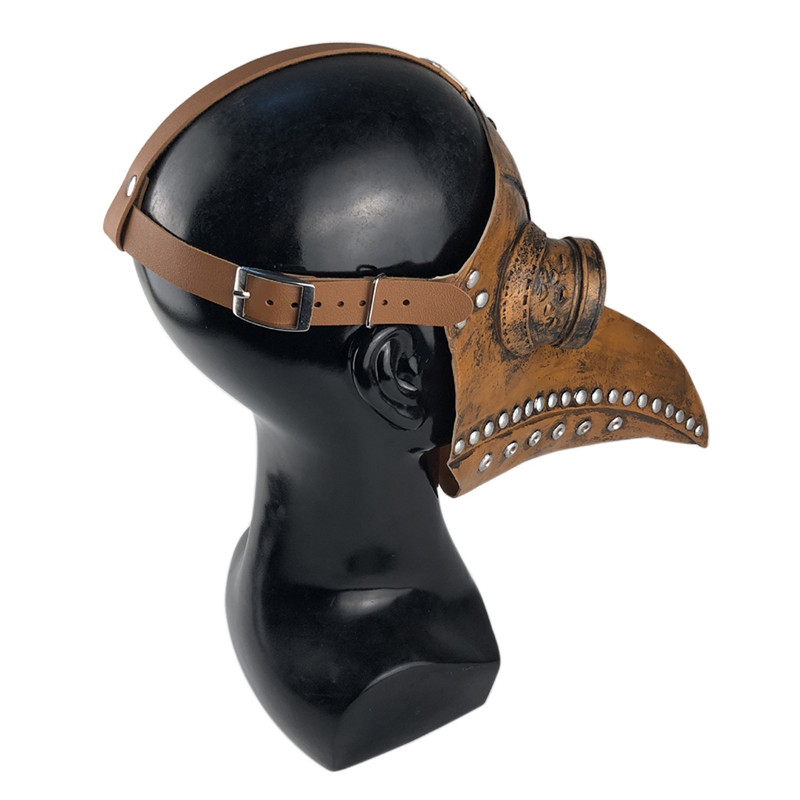 2020 GreatestHalloween Mask Plague Steam Beak Doctor Mask Festive Party Supplies(Black,Copper Nail)