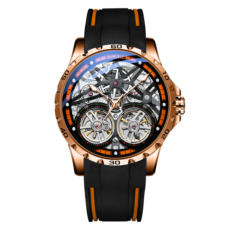 AILANG Men's Watch Advanced Sports Automatic Winding Clock Fashion Silicone Strap Tourbillon Skeleton Mechanical Watch New Mechanical Watches  - AliExpress