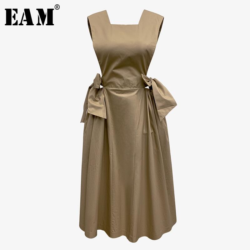 [EAM] Women Khaki Bandage Bow Split Joint Dress New Round Neck Sleeveless Loose Fit Fashion Tide Spring Summer 2020 1X894