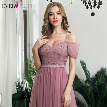 Elegant Dusty Pink Evening Dresses Ever Pretty Sequined A-Line Spaghetti Straps Tulle Sparkle Evening Gowns Abiye Gece Elbisesi 5