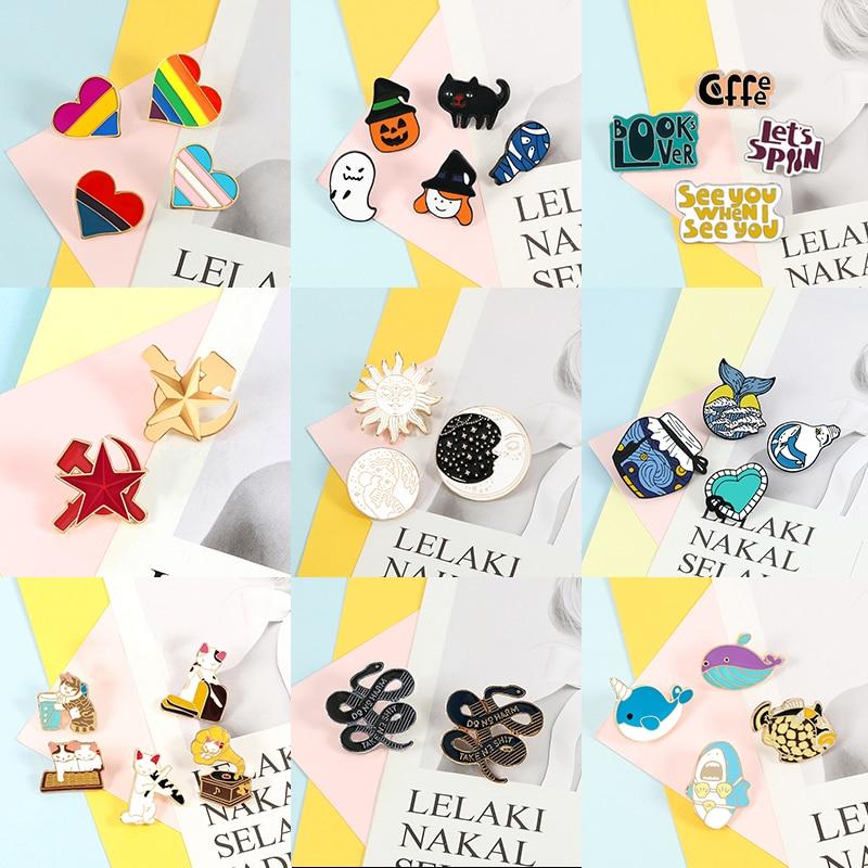 2~5pcs/set Fashion Brooches Fish Cat Ocean Wave Rainbow Heart Sun Custom Enamel Pins Bag Clothes Lapel Pin Badge Cartoon Jewelry