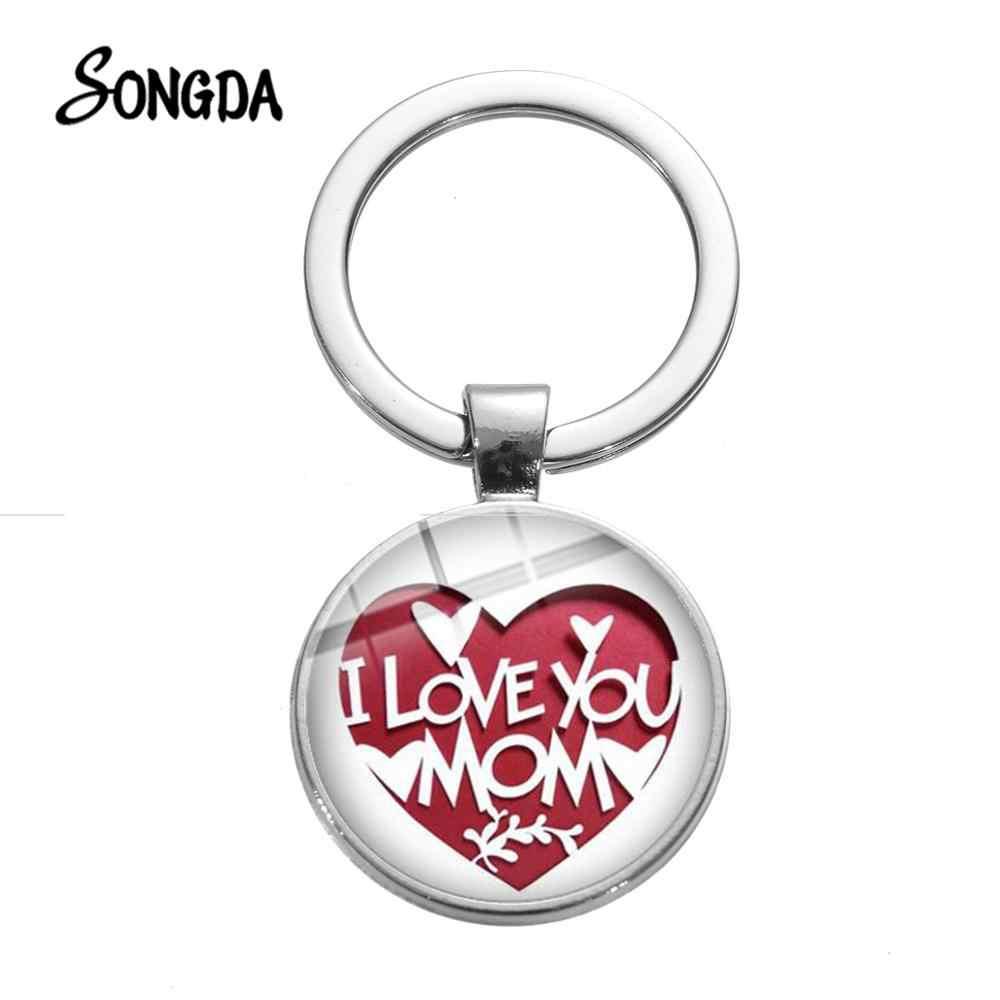 Llavero de corazón I Love you Mom creativo con patrón de papel cortado, llavero de cristal, joyería del Festival de la madre, regalo familiar, recién llegado