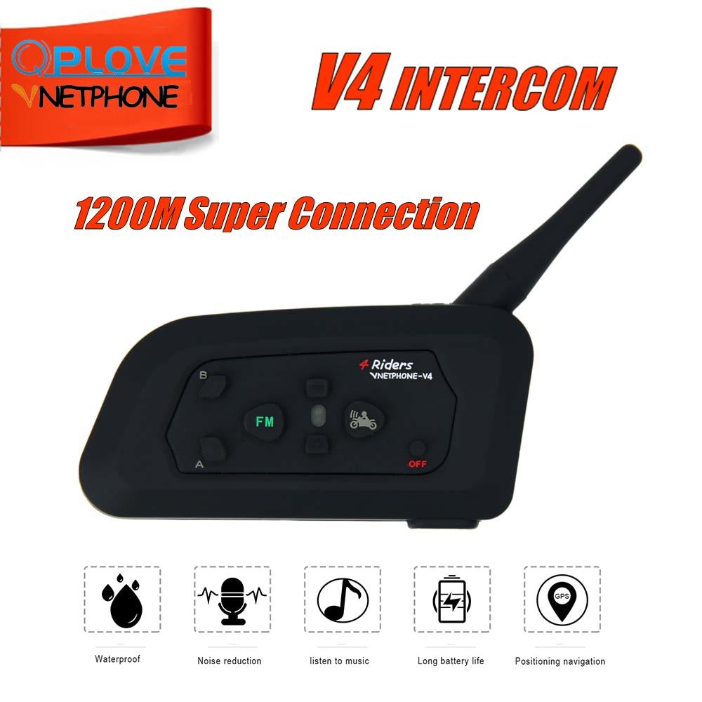 QPLOVE V4 1200m Bluetooth Motorcycle Bike Interphone 4 Riders Headset Speaker Intercom For KTM Ls2 Arai Helmet Football Referee