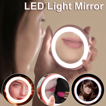 Folding Mirror LED Makeup Mirror Portable Lighted Round Cosmetic Mirror  Girl Gift For Photo Fill Light Beauty Makeup Tool D40 folding makeup mirror with led light 5 times magnifying cosmetic mirror beauty ring light mirror photo fill light small mirrors
