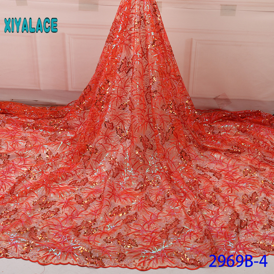 Luxury French Lace Fabric African Nigerian 2019 High Quality Flower Embroidered Tulle Lace Fabric Stones For Wedding YA2969B-4