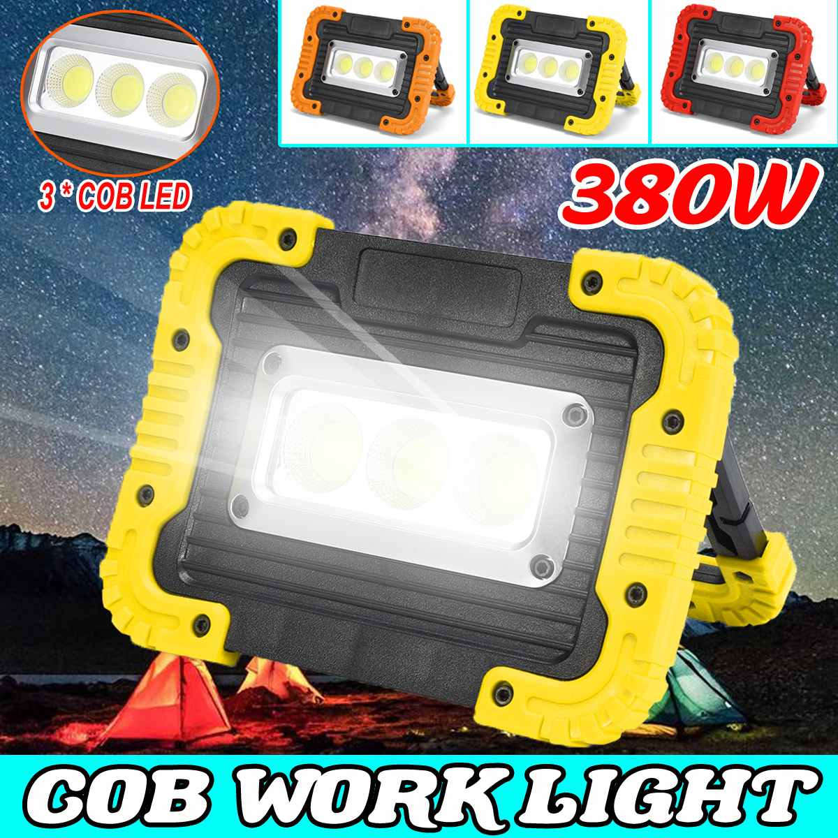 Usb / Battery 380W COB Work Lamp LED Portable Lantern Camping Light Led Portable Spotlight Emergency Light Led Searchlight