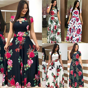 Elegant Summer Women's Dress 2020 Casual Bohemia Flower Print Maxi Dresses Fashion Hollow Out Tunic Vestidos Dress Plus Size 5XL(China)