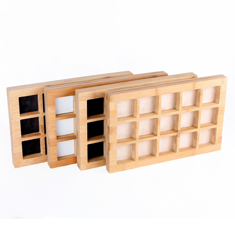 15 Girds Exquisite Bamboo Earrings Ring Organizer Multi-function Jewelry Storage Box Beads Jewelry Display Jewelry Storage Tray