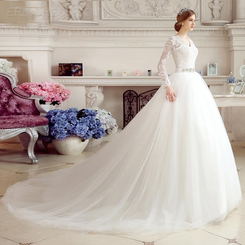 Романтическое кружевное платье с аппликацией, бальное платье с v образным вырезом и длинным рукавом, модное платье для невесты 2018, платья дл
