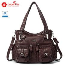 Angel Kiss Brand Skin friendly Top Handle Satchel Shoulder Bag Washed PU Leather Tote Handbag Women Wallet Purse