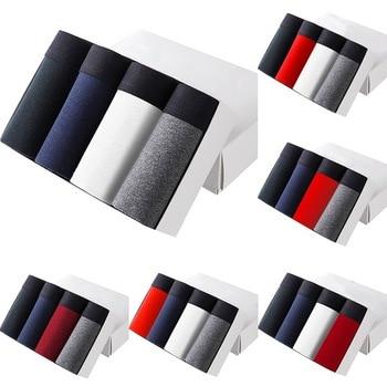 4Pcs/lot Brand Mens Underwear Comfort Cotton Men Boxers Colorful Breathable Solid Flexible Boxer Shorts Pure Color Underpants
