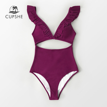 One-Piece Swimsuit CUPSHE Women Monokini Sexy Ruffles V-Neck Solid Cut-Out Padded-Cups