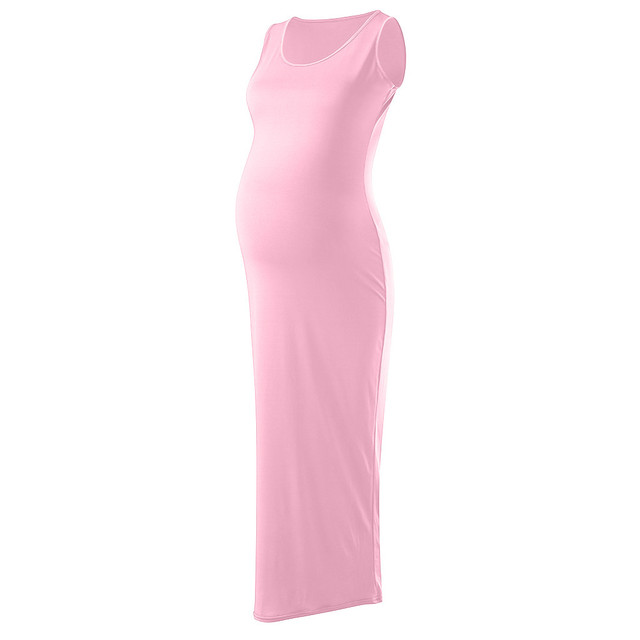 LONSANT Solid Round Neck Maternity Dresses 5