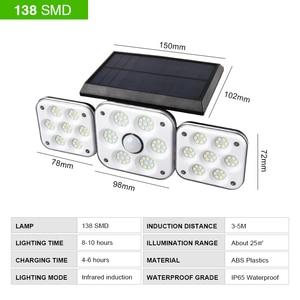 138 светодиодный светильник на солнечных батареях, уличный водонепроницаемый светильник с датчиком движения PIR для украшения сада, Рождеств...
