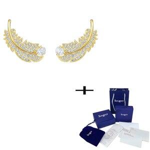 SWA модные новые изысканные блестящие перьевые серьги с кристаллами, Европейский уникальный стиль, Женские Ювелирные изделия, Уникальные ре...
