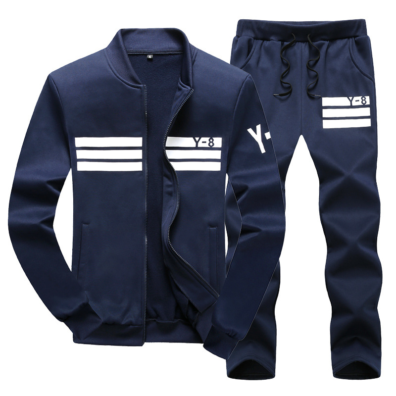 Spring And Autumn Korean-style Fashion Hoodie Suit Men Casual Sports Cardigan Sweater Pants Large Size Jogging Suits