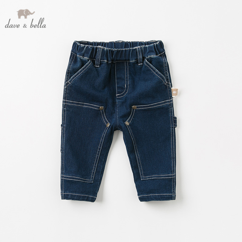 DB11834 dave bella autumn baby boy fashion handsome pants children full length solid pants infant toddler jeans trousers