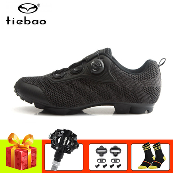 цена на Tiebao Athletic cycling shoes men black breathable sapatilha ciclismo mtb mountain bike sneakers mtb riding bicycle shoes