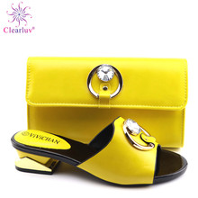2019 New yellow Matching Shoes and Bag Set In Heels African Shoes and Matching Bags Italian Pumps Matching Shoe and Bag Set cheap Clearluv Mary Janes Spike Heels Super High (8cm-up) Fits true to size take your normal size ELEGANT CRYSTAL Party Summer
