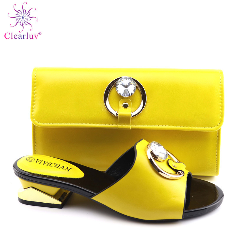 2019 New Yellow Matching Shoes And Bag Set In Heels African Shoes And Matching Bags Italian Pumps Matching Shoe And Bag Set