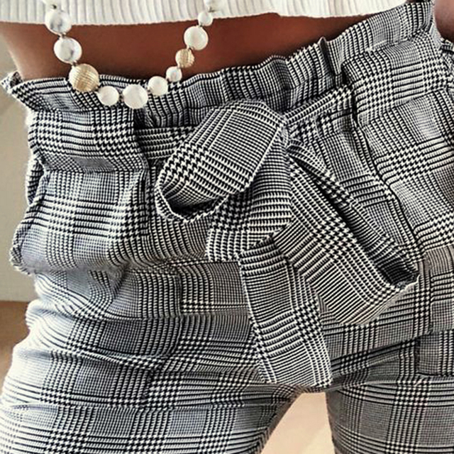 Women Fashion Plaid Pleated High Waist Skinny Pencil Pants Trousers with Sash Sporting Black Casual Streetwear 5