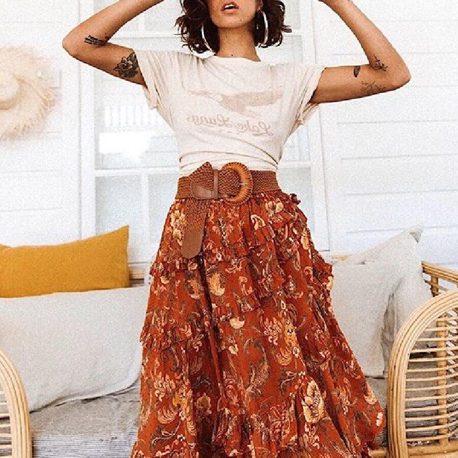 TEELYNN maxi skirt for women Rayon orange floral print Boho skirt ...