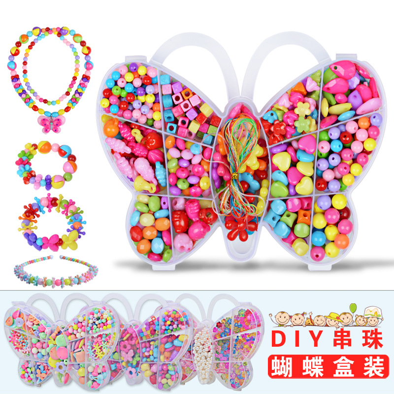 DIY Hand-made Acrylic Pop Beads Girl  Creativity Needlework Kids Crafts Jewelry Bracelet Necklace  Fashion Kit Toy For Girl Gift
