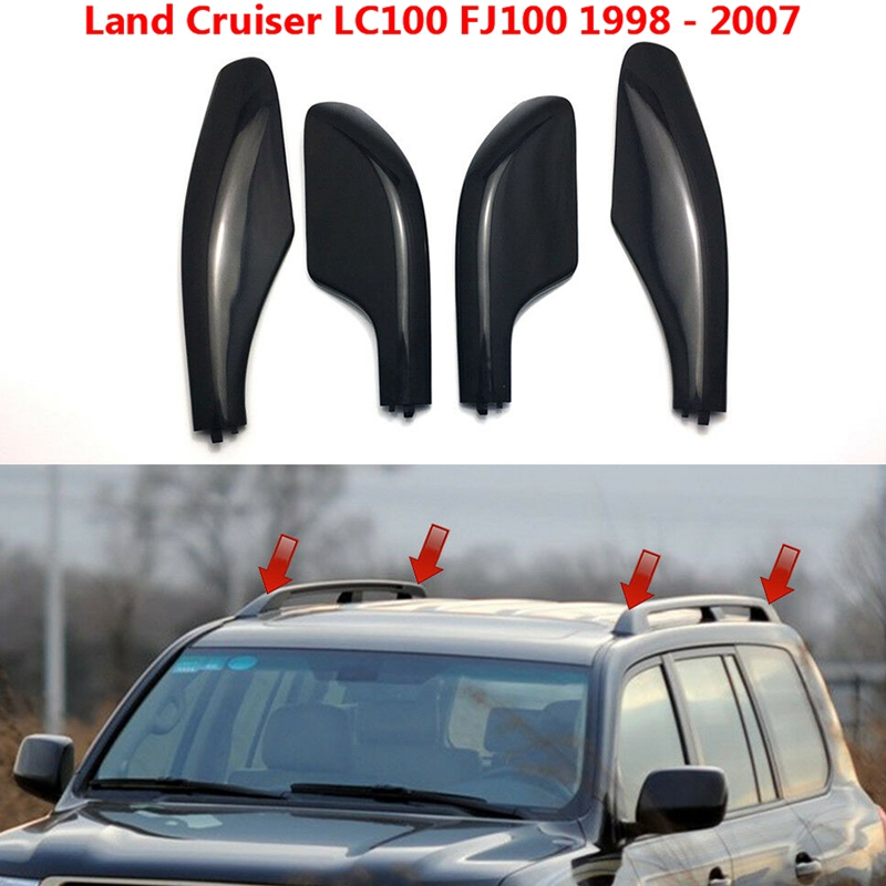 Black Roof Rack Bar Rail End Replacement Cover Shell 4PCS for Toyota Land Cruiser LC100 FJ100 1998-2007