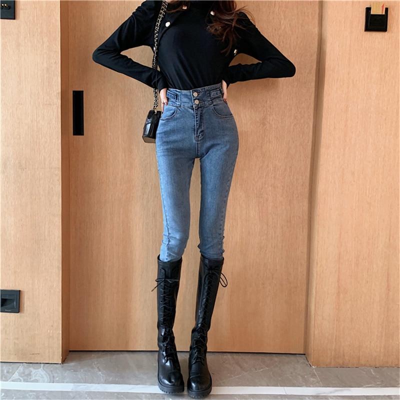 Real Shot 2019 New Fashion Temperament Female Retro Washed High Waist Stretch Wild Jeans Korean Slim Was Thin Feet Pencil Pants