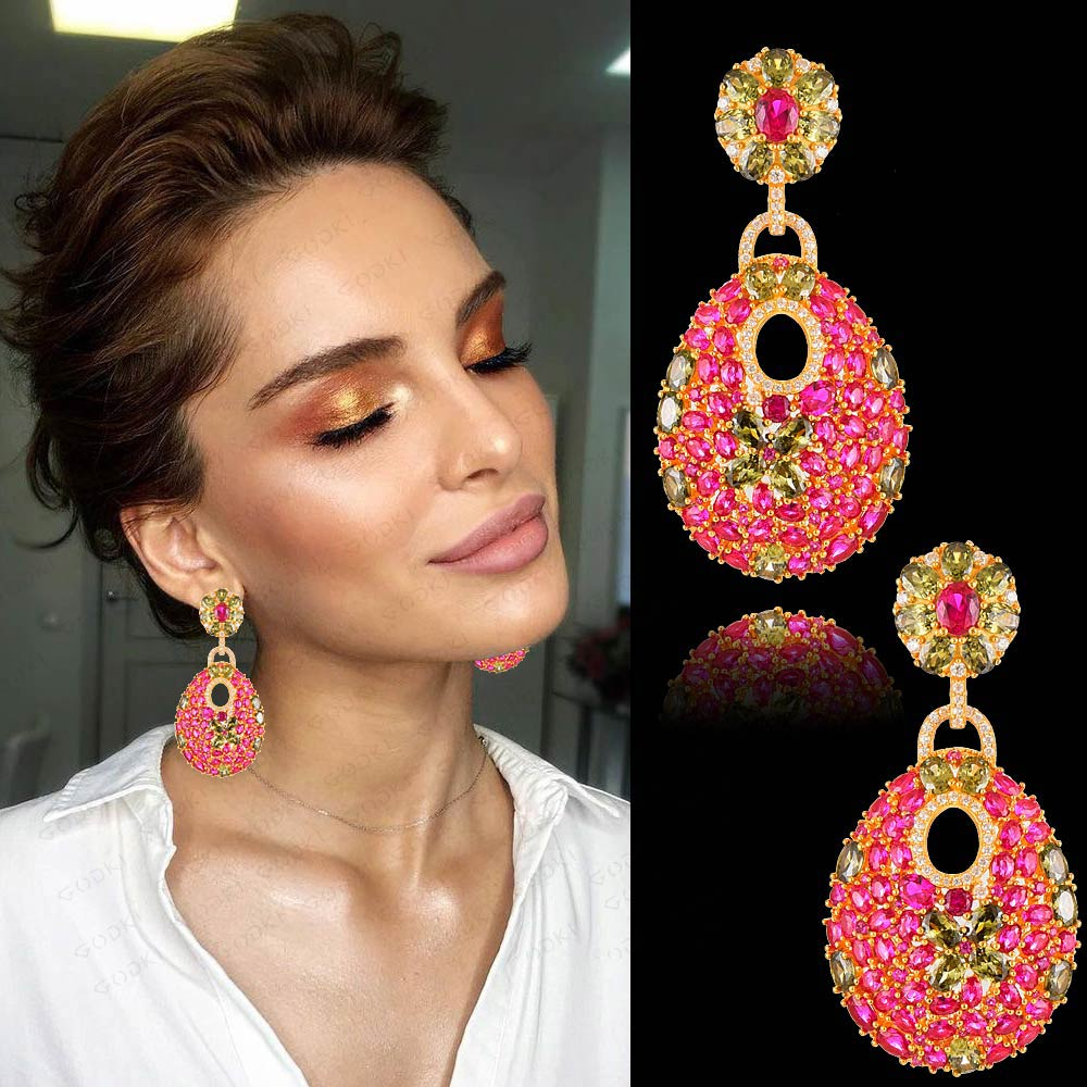 GODKI 50mm Charms Hot Trendy Luxury Link Chain Drop Earring Women Full Mirco CZ Paved Cubic Zircon Wedding Fashion Jewelry
