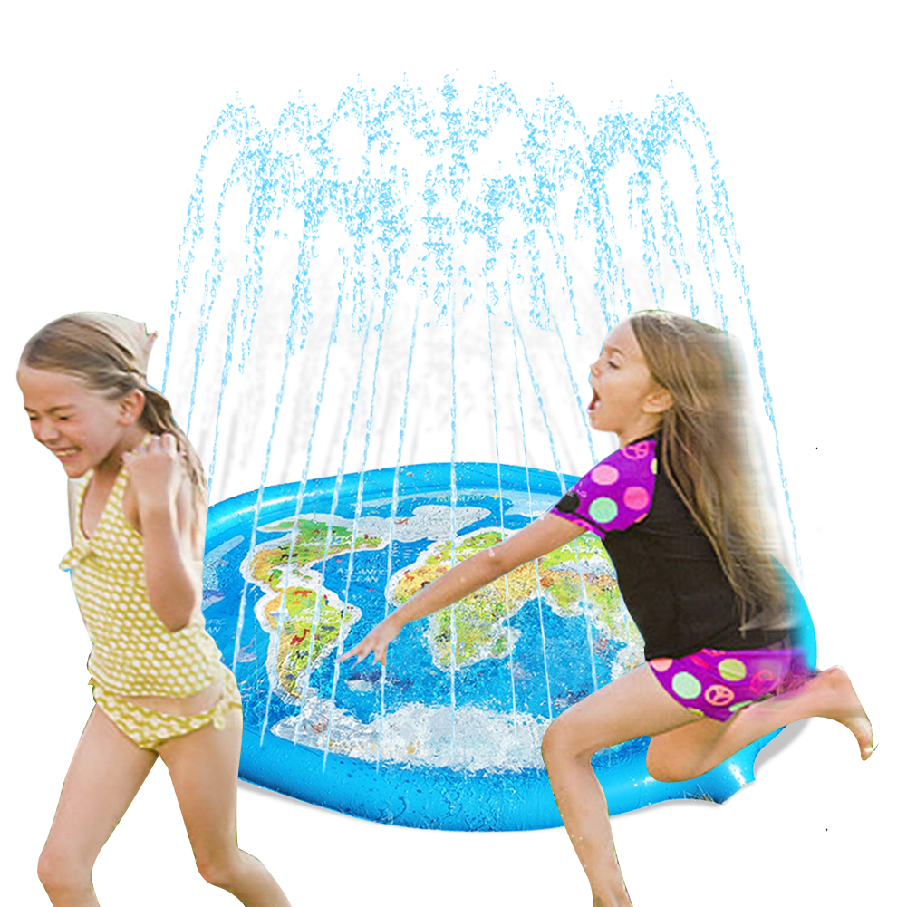1set 180/170cm Map Print Inflatable Water Spray Mat Kids Lawn Play Sprinkler Pad Cushion Interaction Time Toddler Water Pad