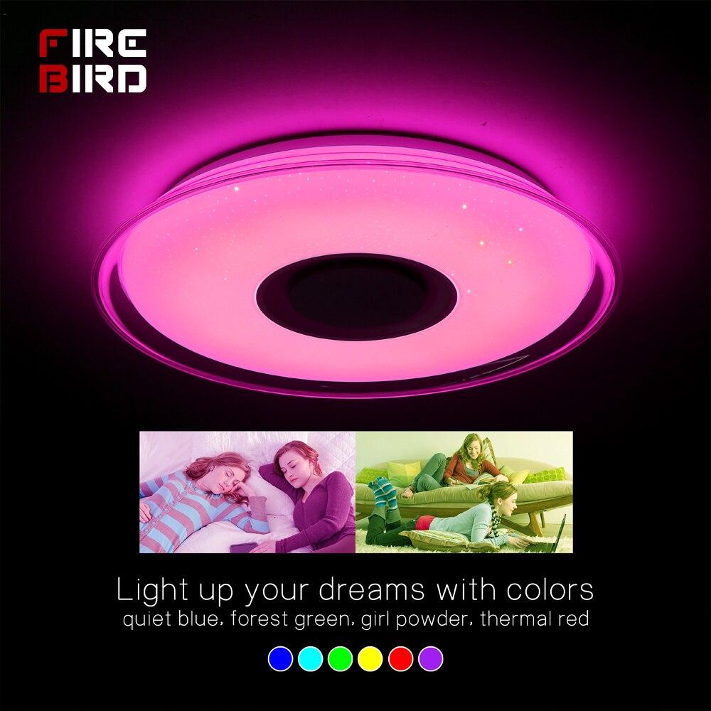 Современный светодиодный потолочный светильник RGB с пультом дистанционного управления 36 Вт 52 Вт потолочный светильник приложение Bluetooth Муз